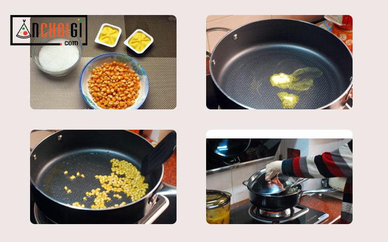Hướng dẫn cách làm bắp rang bơ bằng nồi cơm điện, bằng chảo